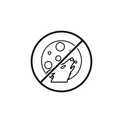No Wolf and the moon icon. Simple thin line, outline vector of Halloween ban, prohibition, forbid icons for UI and UX, website or mobile application