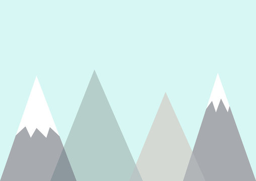 Abstract geometric mountains. Scandinavian style poster