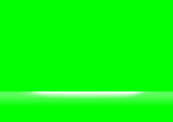 green screen colors and white light shine for background, backdrop green screen and spotlight soft, green screen space for background