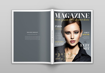 Open Magazine Cover and Back Mockup