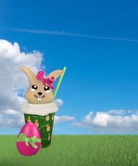 niedlicher 3d Kawaii Osterhase im Milchshake auf grüner Wiese mit Wolkenhimmel.