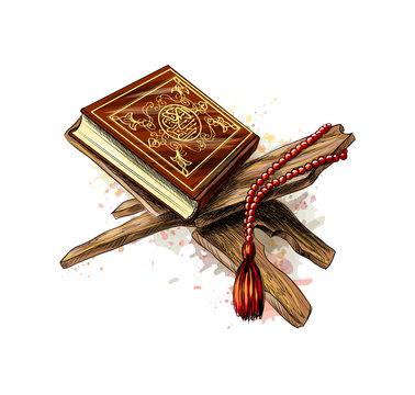 Holy book of Koran with rosary from splash of watercolors. Muslim holiday, Eid Mubarak, Eid al-fitr, Ramadan Kareem. Hand drawn sketch