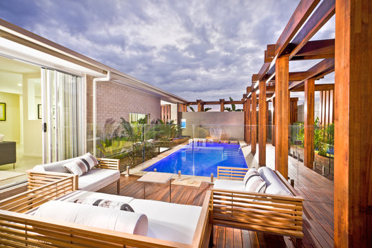 Wood decorated swimming pool area with swimming pool