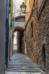 Old Medieval Alley in Girona, Spain