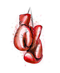 Hanging boxing gloves from a splash of watercolor