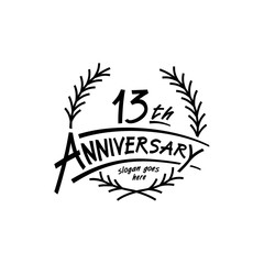 13 years design template. Vector and illustration. 13 years logo.