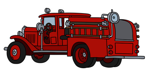 The vectorized hand drawing of a classic fire truck