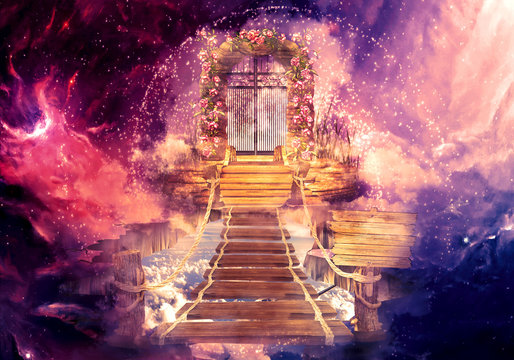 Artistic Multicolored 3d Rendering Computer Generated Illustration Of A Higher Dimension Heaven's Gate Background
