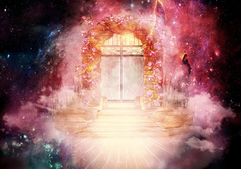 Artistic Multicolored 3d Rendering Computer Generated Illustration Of A Glowing Higher Dimension Heaven's Gate Artwork Wall mural