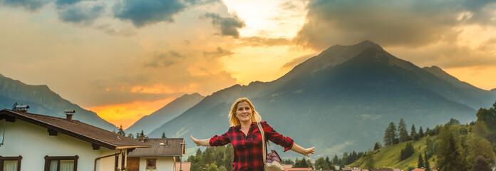 girl in the mountains, alps, austria