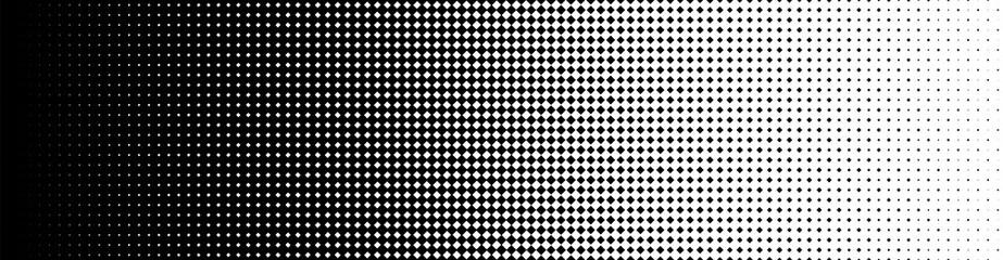 Seamless Screentone Graphics, Halftone Gradation, Diamond Pattern, Black