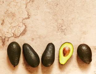 Fresh Avocado. Frame, top view, flat lay, copy space