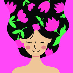 Happy International Women's Day, 8th March, Women Power Illustrated By Hand - Vector Eps