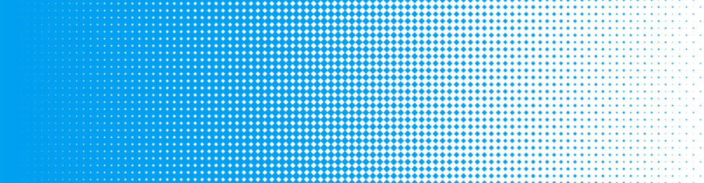 Seamless Screentone Graphics, Halftone Gradation, Diamond Pattern, Blue