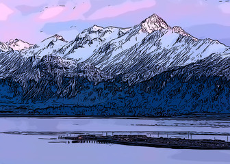 drawing of homer spit in pink light