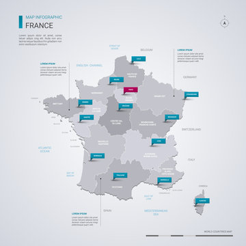 France vector map with infographic elements, pointer marks.