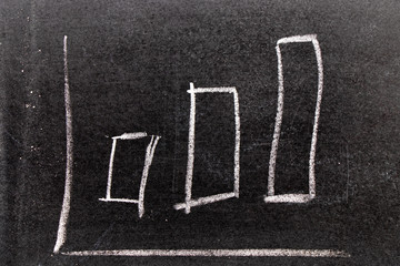 White chalk hand drawing in uptrend bar chart  shape on black board background