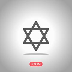 Star of david, simple icon. Icon under spotlight. Gray background