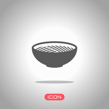 Bowl of noodles without chopsticks. Icon of asian or italian food. Icon under spotlight. Gray background