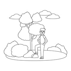 man body cartoon at nature in black and white