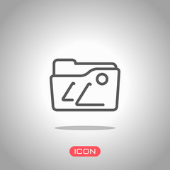 Folder of pictures or photos, gallery, outline linear icon. Icon under spotlight. Gray background