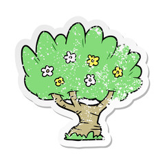 distressed sticker of a cartoon tree