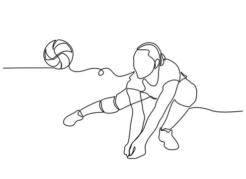 continuous line drawing of Female professional volleyball player isolated on with ball. The athlete, exercise, action, sport, healthy lifestyle, training, fitness concept.