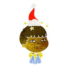 retro cartoon of a amazed boy wearing santa hat
