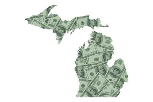 Michigan Map and Money, Hundred Dollar Bills