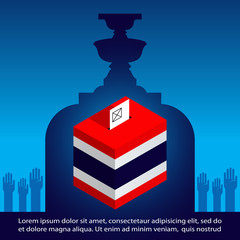 Thai General Election  Vector Illustration, Thailand Voting concept banner,  ballot box  with national flag– Thailand