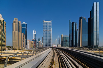 View on Dubai metro skyscrapers and Sheikh Zayed Road towers ,United Arab Emirates
