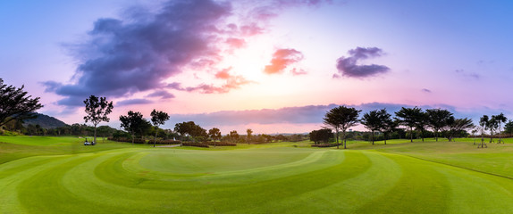 The Panorama beautiful view golf course with white cloud before sunset time.