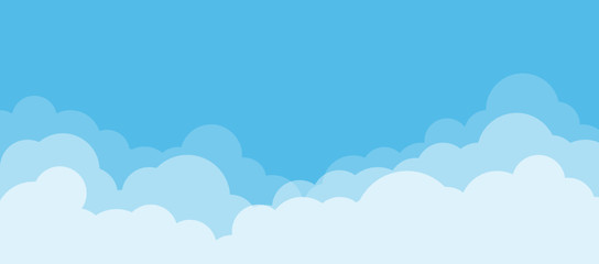 Blue sky and white clouds with copy space. Nature concept. Vector illustration.