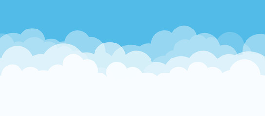 Blue sky and white clouds with copy space. Nature concept. Vector illustration. Fototapete
