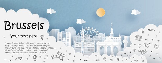 Fototapete - Tour and travel advertising template with travel to Brussels, Belgium with famous landmarks in paper cut style vector illustration