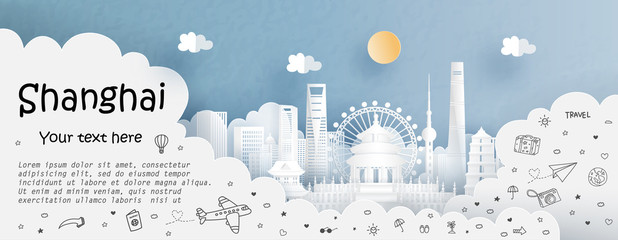 Fototapete - Tour and travel advertising template with travel to Shanghai, China with famous landmarks in paper cut style vector illustration