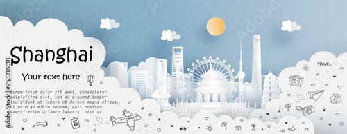 Fototapete Tour and travel advertising template with travel to Shanghai, China with famous landmarks in paper cut style vector illustration