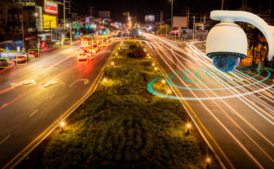 CCTV infrared camera new technology 4.0 signal for Checking speed of cars on high way street and check for safe accident on street are signal of speed check by CCTV system