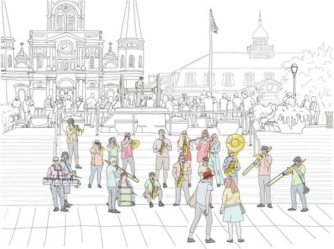 Hand drawn illustration. A big brass band performs jazz music to a crowd in Jackson Square in the French Quarter, with the St. Louis Cathedral in the distance.