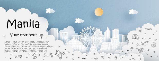 Fototapete - Tour and travel advertising template with travel to Manila, Philippines with famous landmarks in paper cut style vector illustration