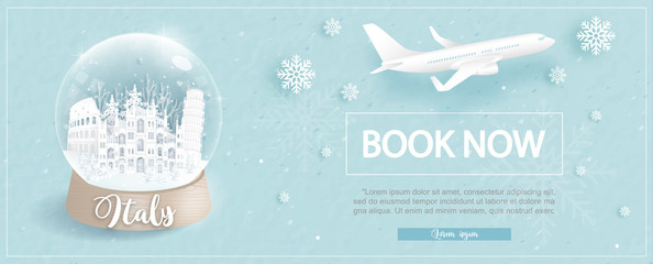 Fototapete - Flight and ticket advertising template with travel to Italy in winter season with famous landmarks in paper cut style vector illustration