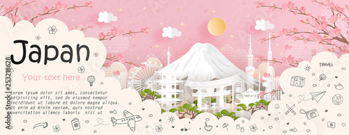 Fototapete Tour and travel advertising, postcard, poster of world famous landmark of Japan in paper cut style vector illustration.