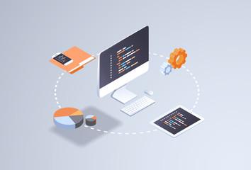 software web site design development concept programming language program code big data processing on computer screen 3d isometric coding technologies flat horizontal vector illustration
