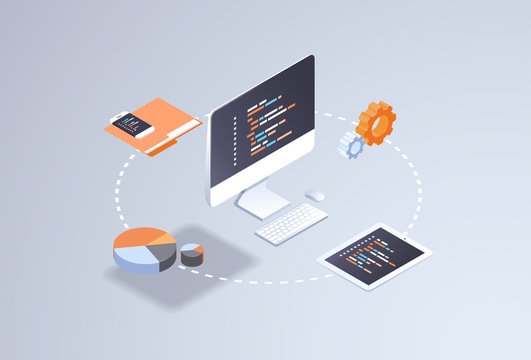 software web site design development concept programming language program code big data processing on computer screen 3d isometric coding technologies flat horizontal vector illustration