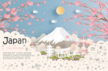 Fototapete - Tour and travel advertising, postcard, panorama poster of world famous landmark of Japan in paper cut style vector illustration.