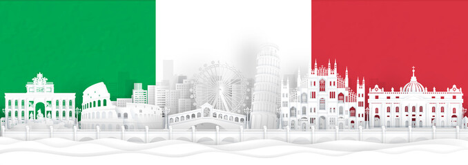 Fototapete - Italy flag and famous landmarks in paper cut style vector illustration.
