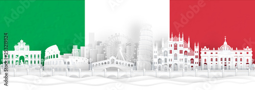 Fototapete Italy flag and famous landmarks in paper cut style vector illustration.