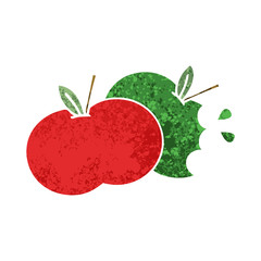 retro illustration style cartoon apples