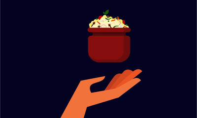 Vector illustration of a hand and biryani. Food and Eating Concept. Feeding and Helping Design