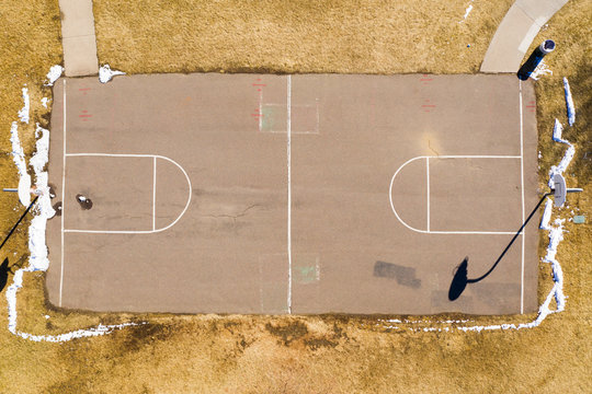 Outdoor Basketball Court Overhead Top Down Aerial View Dry Yellow Grass Snow - Schoolyard Playground Park